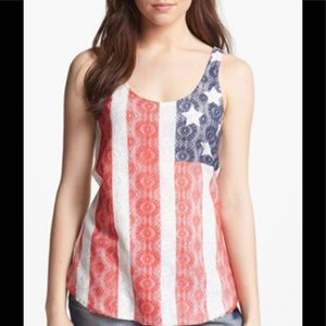 Tops - Lucky Brand Flag Print Lace Tank Top Scoop Neck